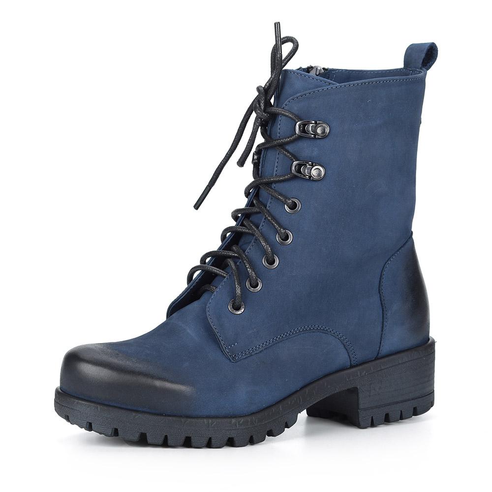Синие ботинки на шнуровке из нубука