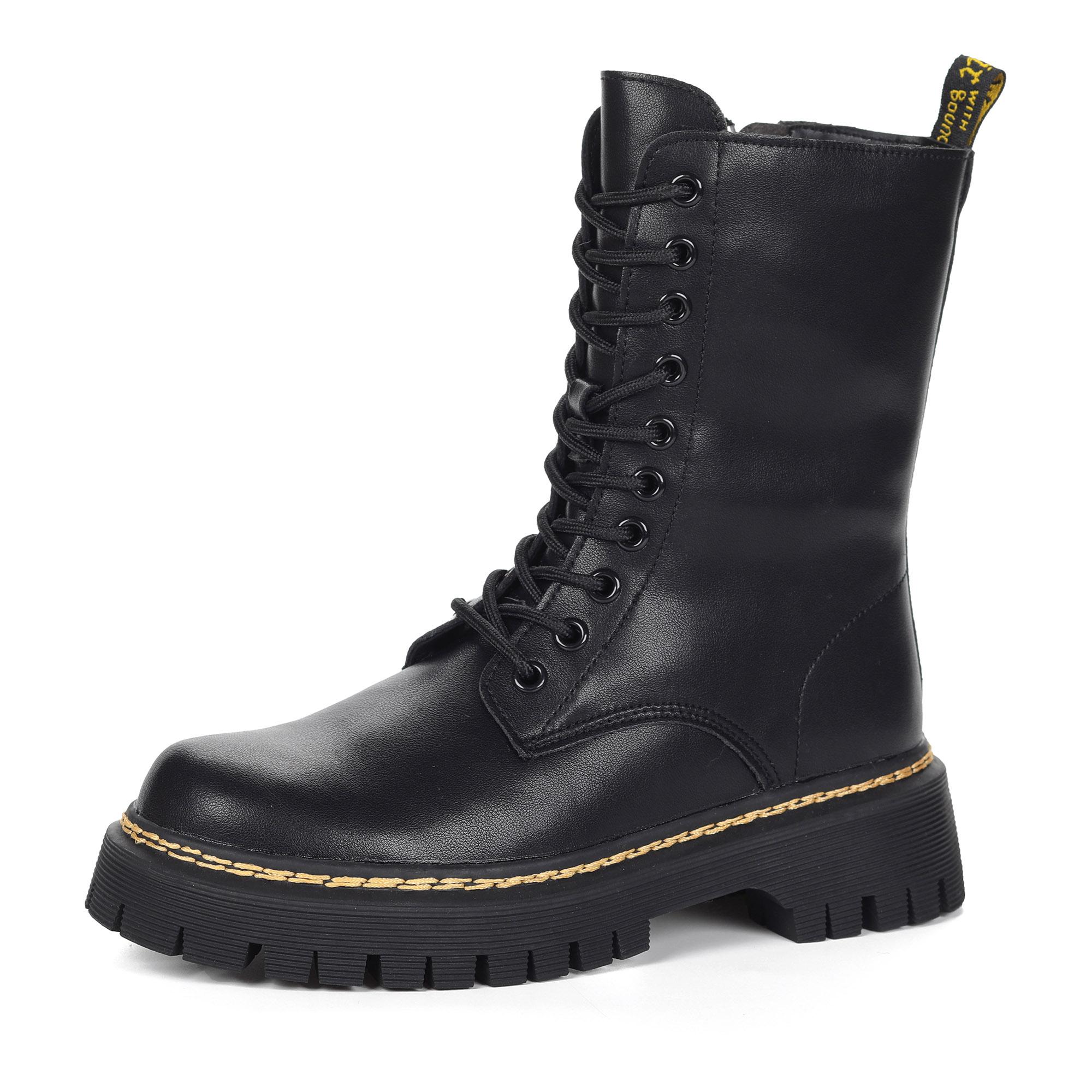 Черные ботинки из кожи на шнурках на подкладке из натуральной шерсти
