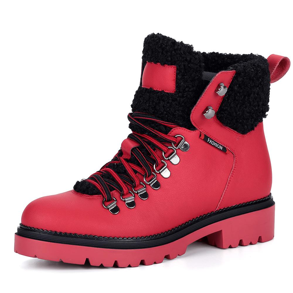 Красные кожаные ботинки на шерсти