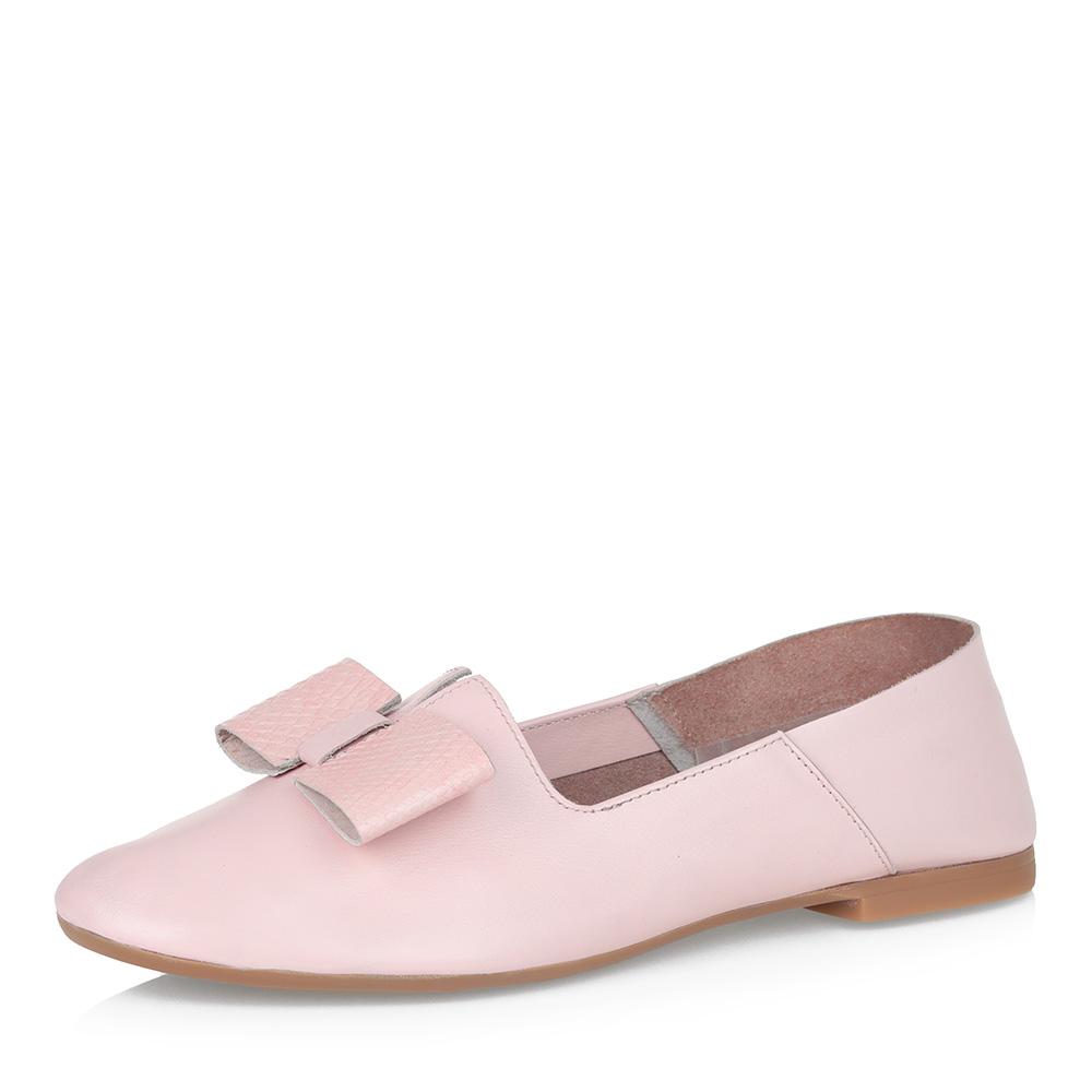 Розовые кожаные туфли с бантом
