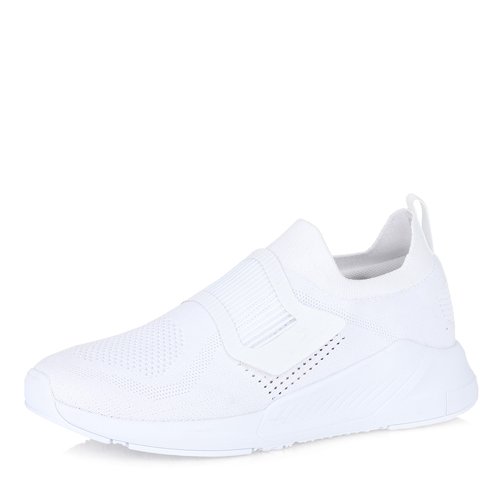 Белые текстильные кроссовки без шнуровки фото