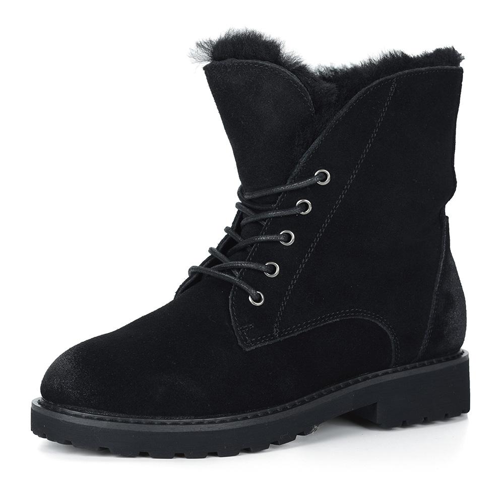Черные ботинки из велюра на натуральном меху