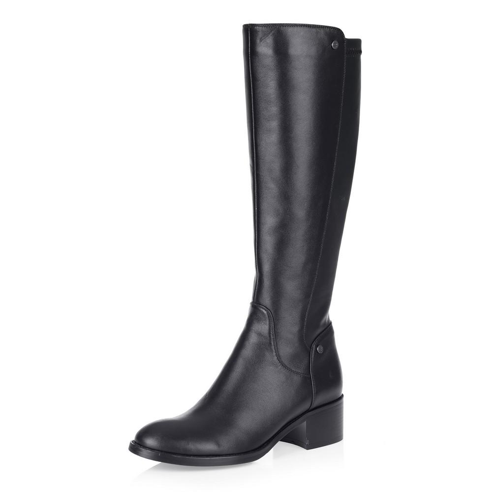 Купить со скидкой Черные кожаные сапоги с узким голенищем
