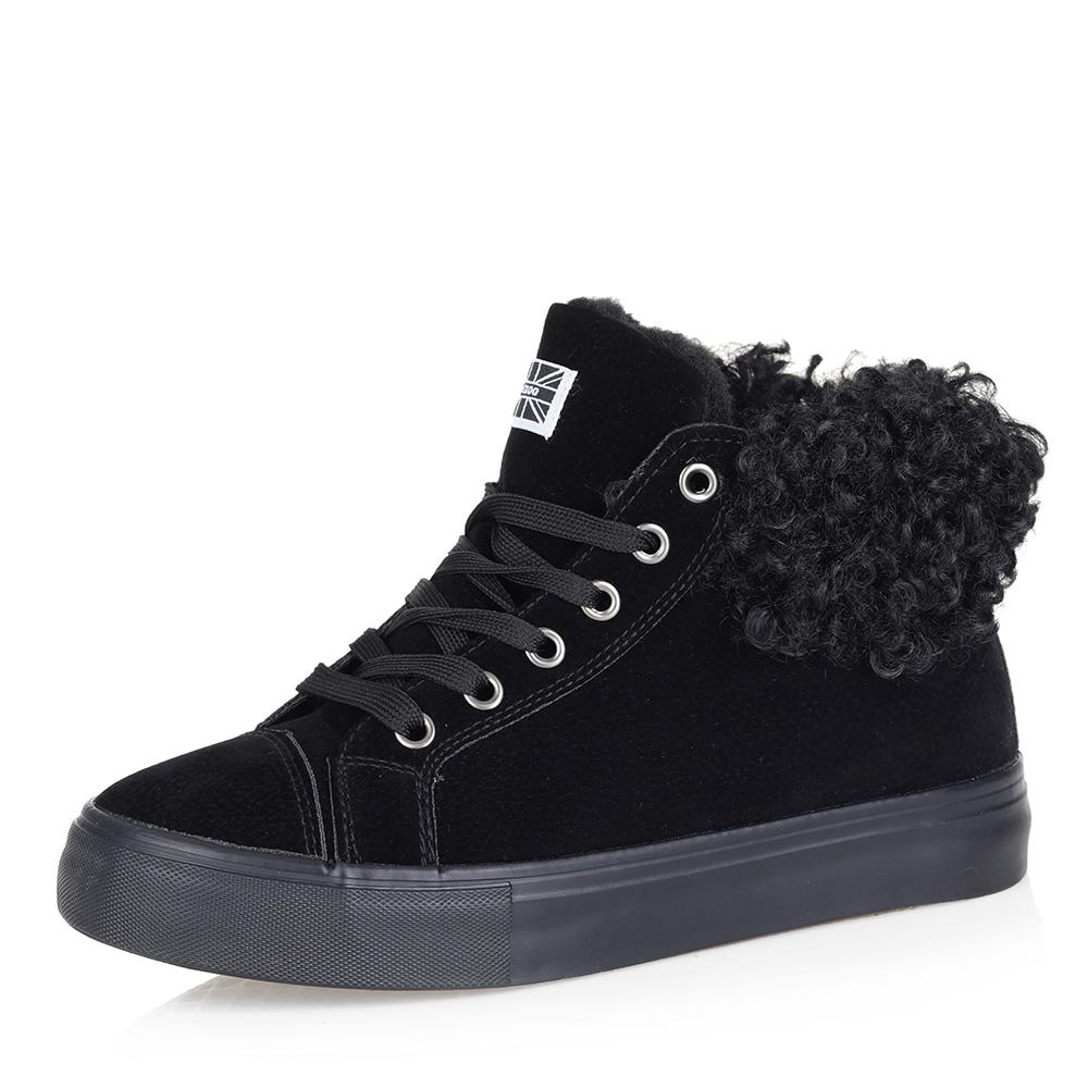 Черные комфортные ботинки из эко замши