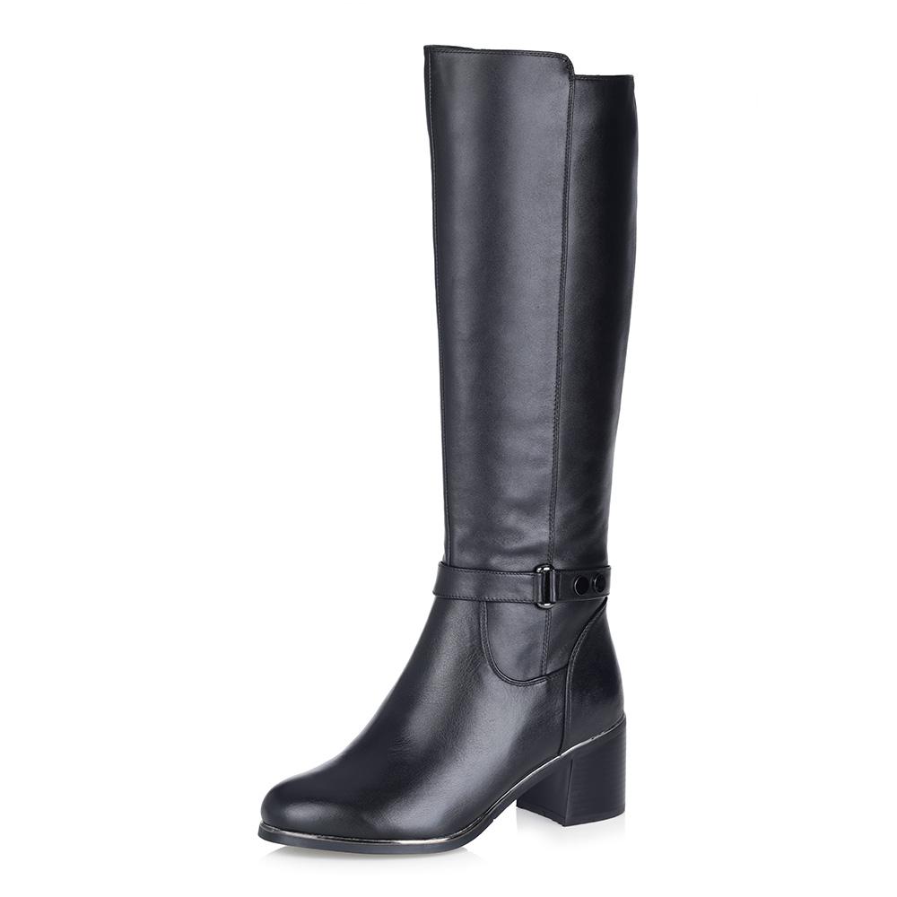 Купить со скидкой Черные кожаные сапоги на среднем каблуке