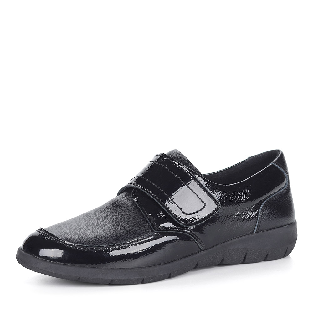 Черные лакированные полуботинки без шнуровки