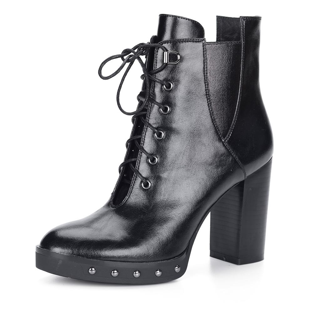 Черные ботильоны на шнуровке из кожи