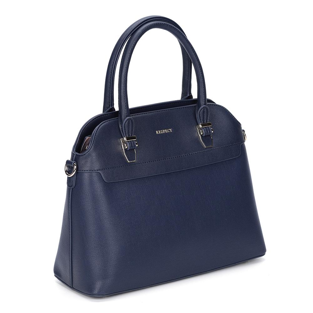 Синяя классическая сумка с дополнительной ручкой фото
