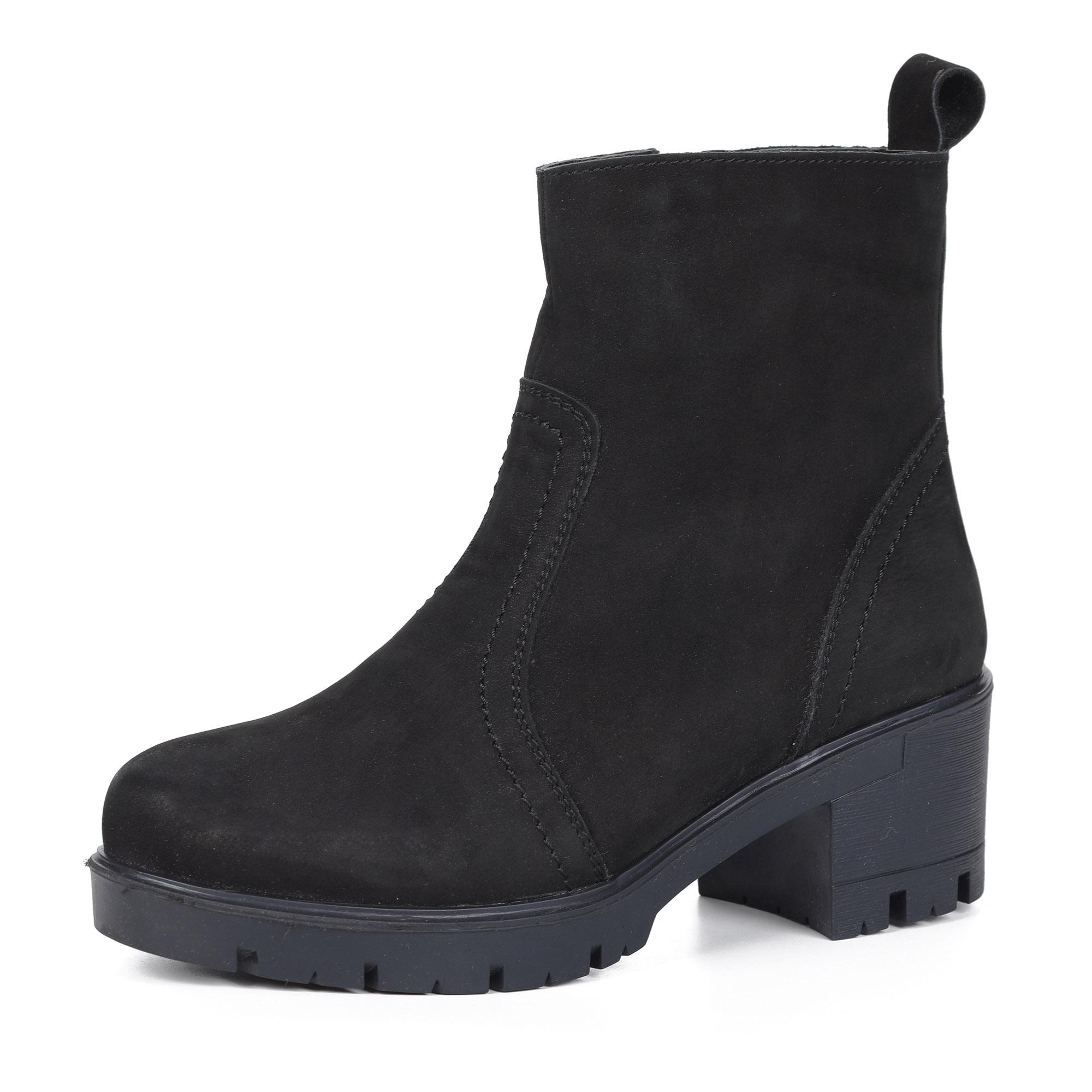 Черные ботинки из кожи на шерсти