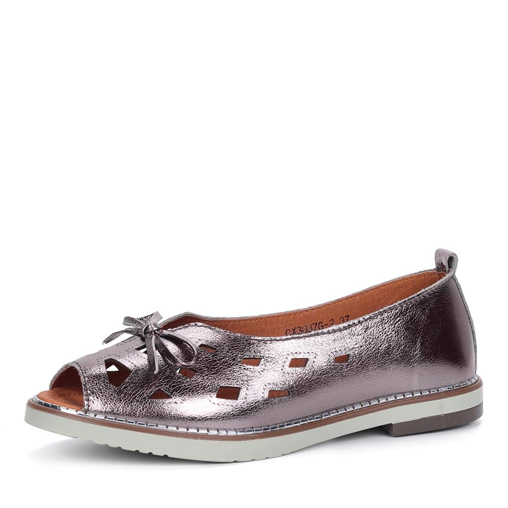 Бронзовые туфли с крупной перфорацией фото