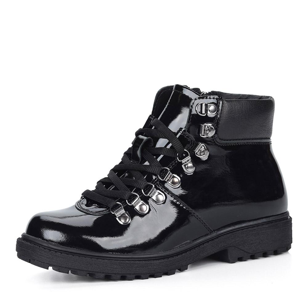 Черные лаковые ботинки на шнуровке