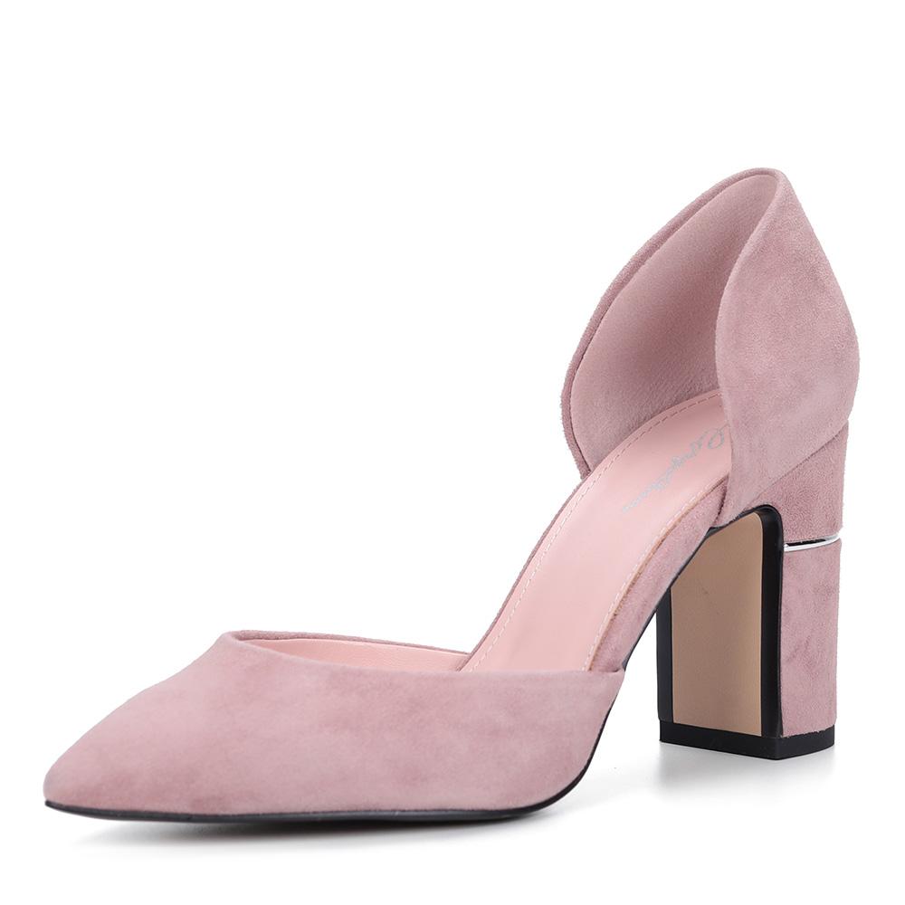 Розовые велюровые туфли на декоративном каблуке фото