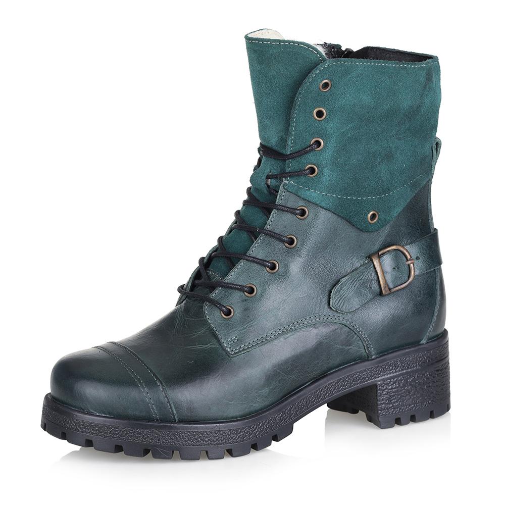 Зеленые ботинки на высокой шнуровке
