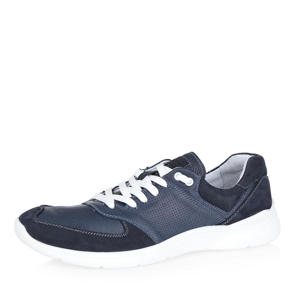 Голубые кожаные кроссовки фото