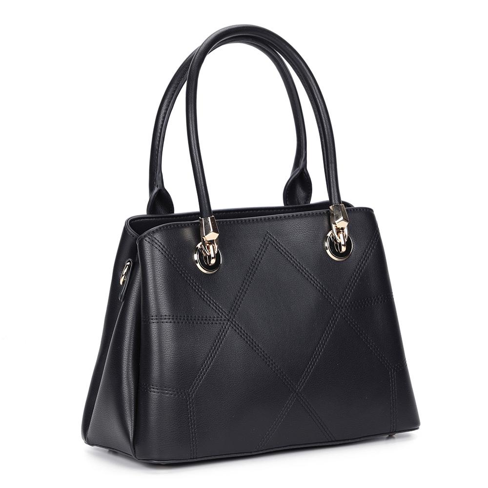 Черная сумка с жесткой основой и дополнительной ручкой фото