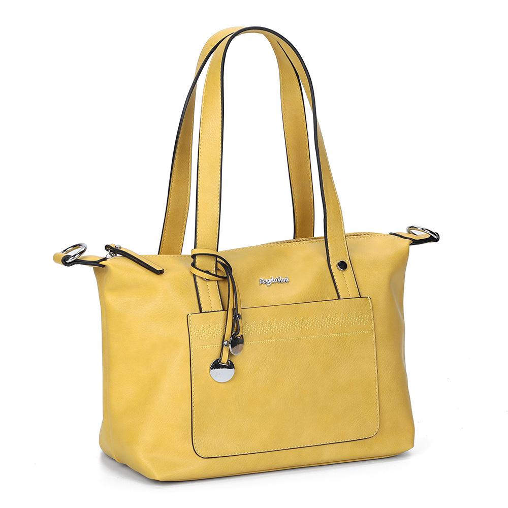 Желтая вместительная сумка с дополнительной ручкой фото