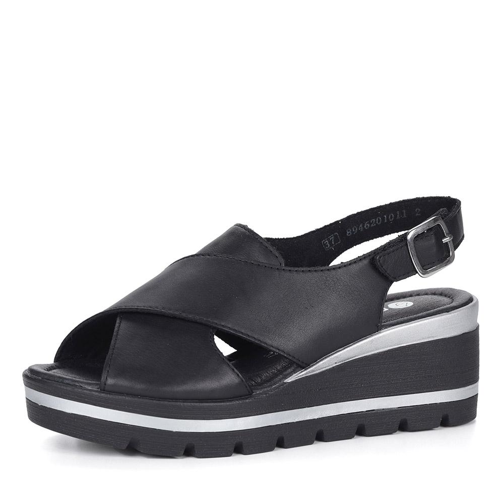 Черные босоножки из кожи на каблуке
