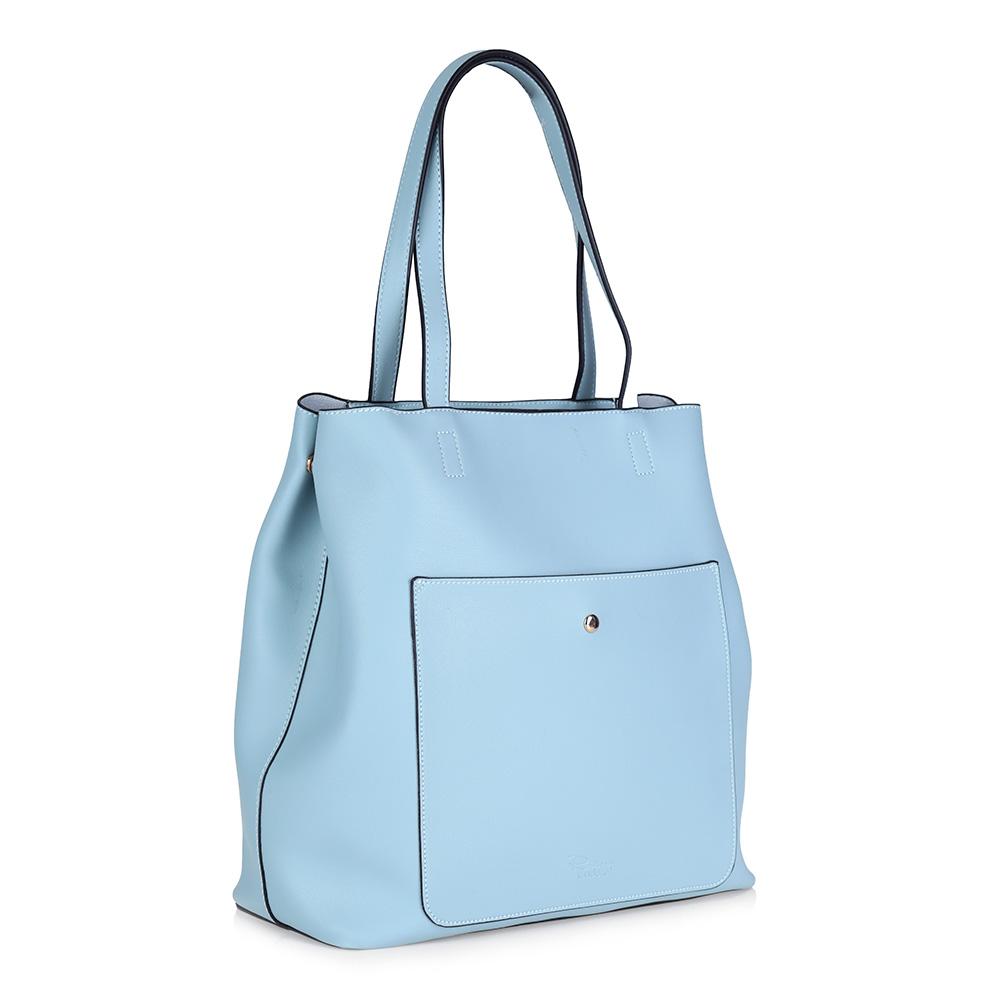Объемная голубая сумка из экокожи фото