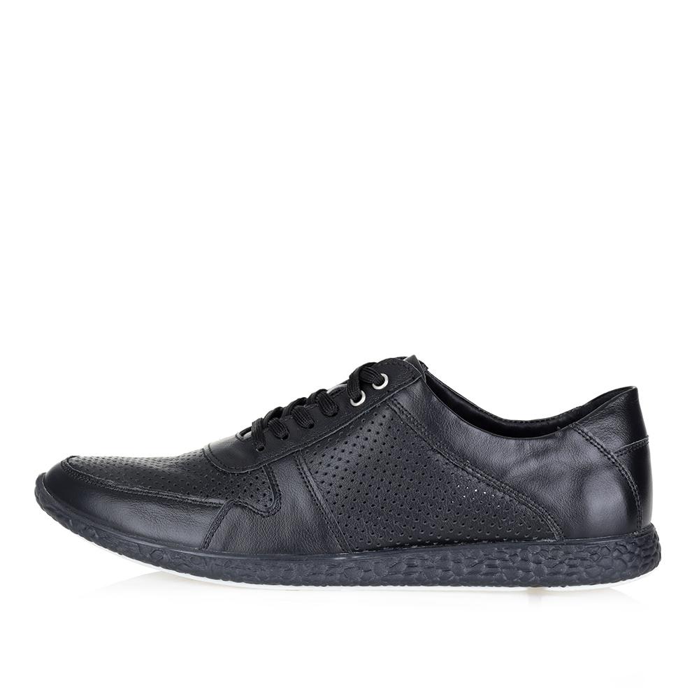 Черные кожаные кроссовки1