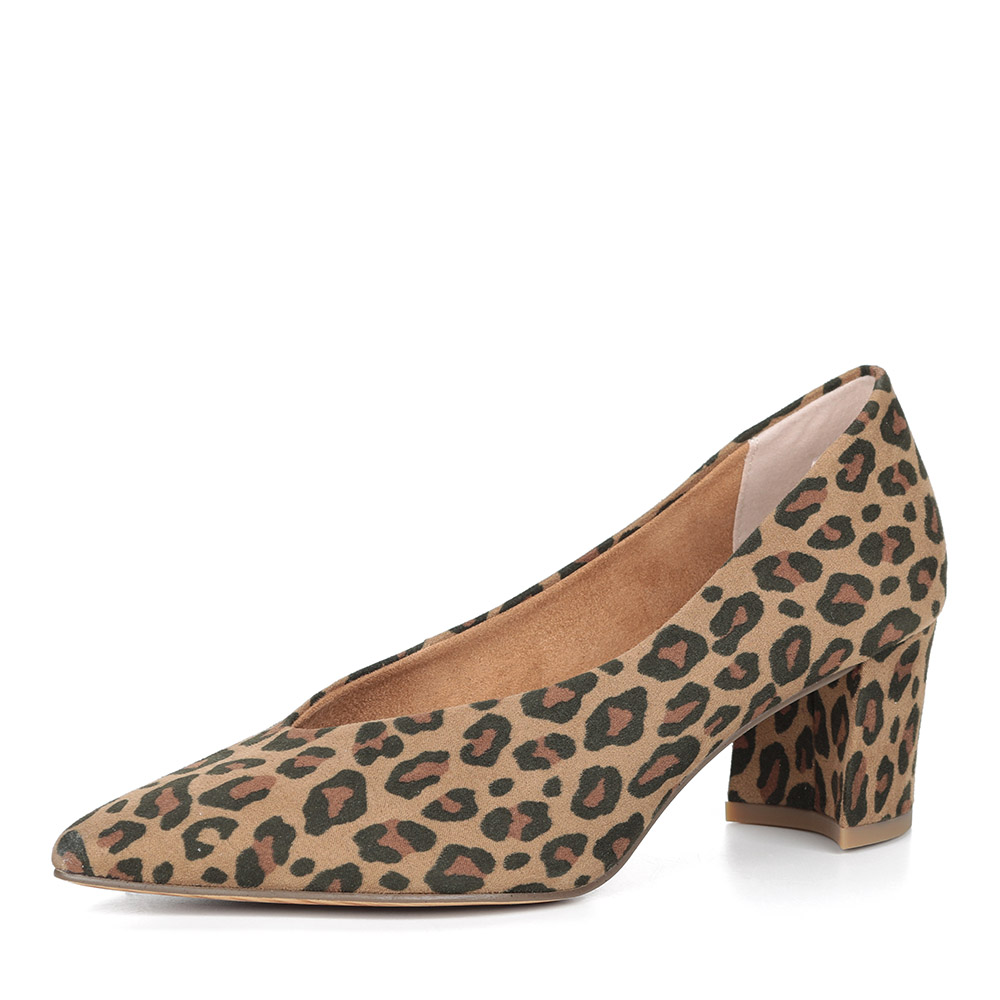 Леопардовые туфли-лодочки на устойчивом каблуке
