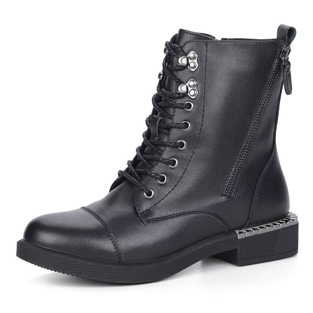 Черные ботинки на шнуровке из кожи