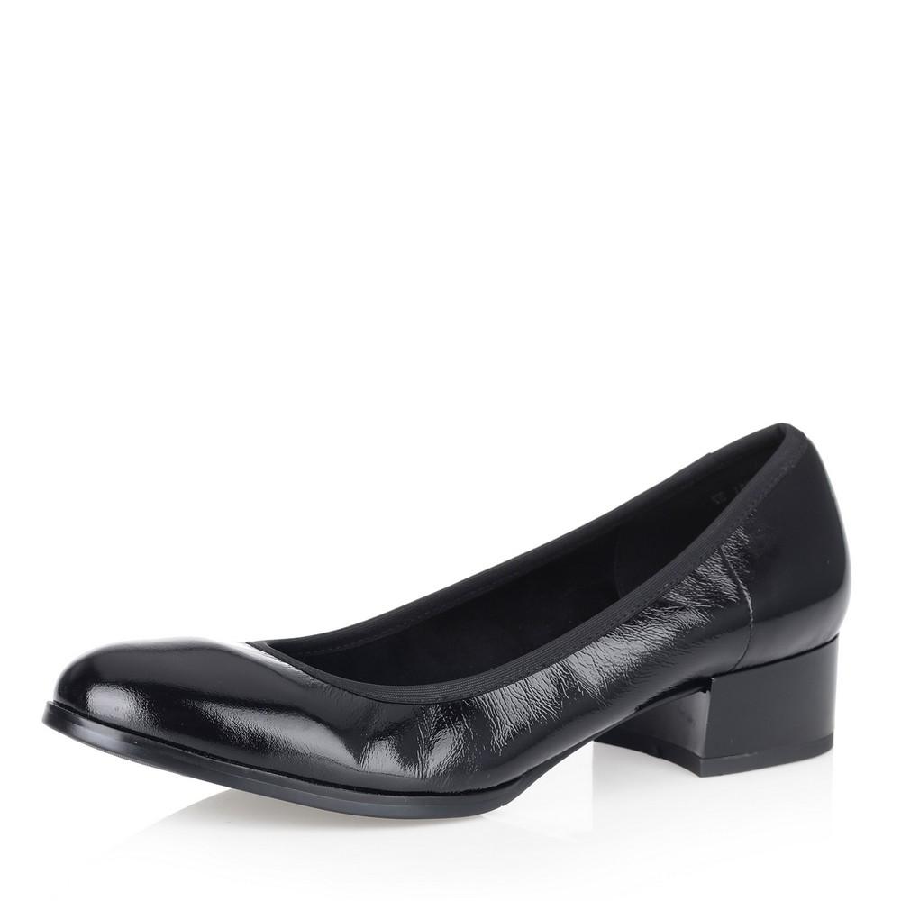 Купить со скидкой Черные туфли-лодочки на низком каблуке