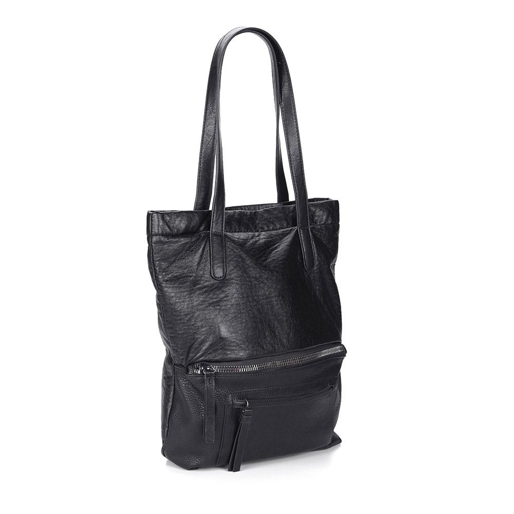Черная вместительная сумка на плечо