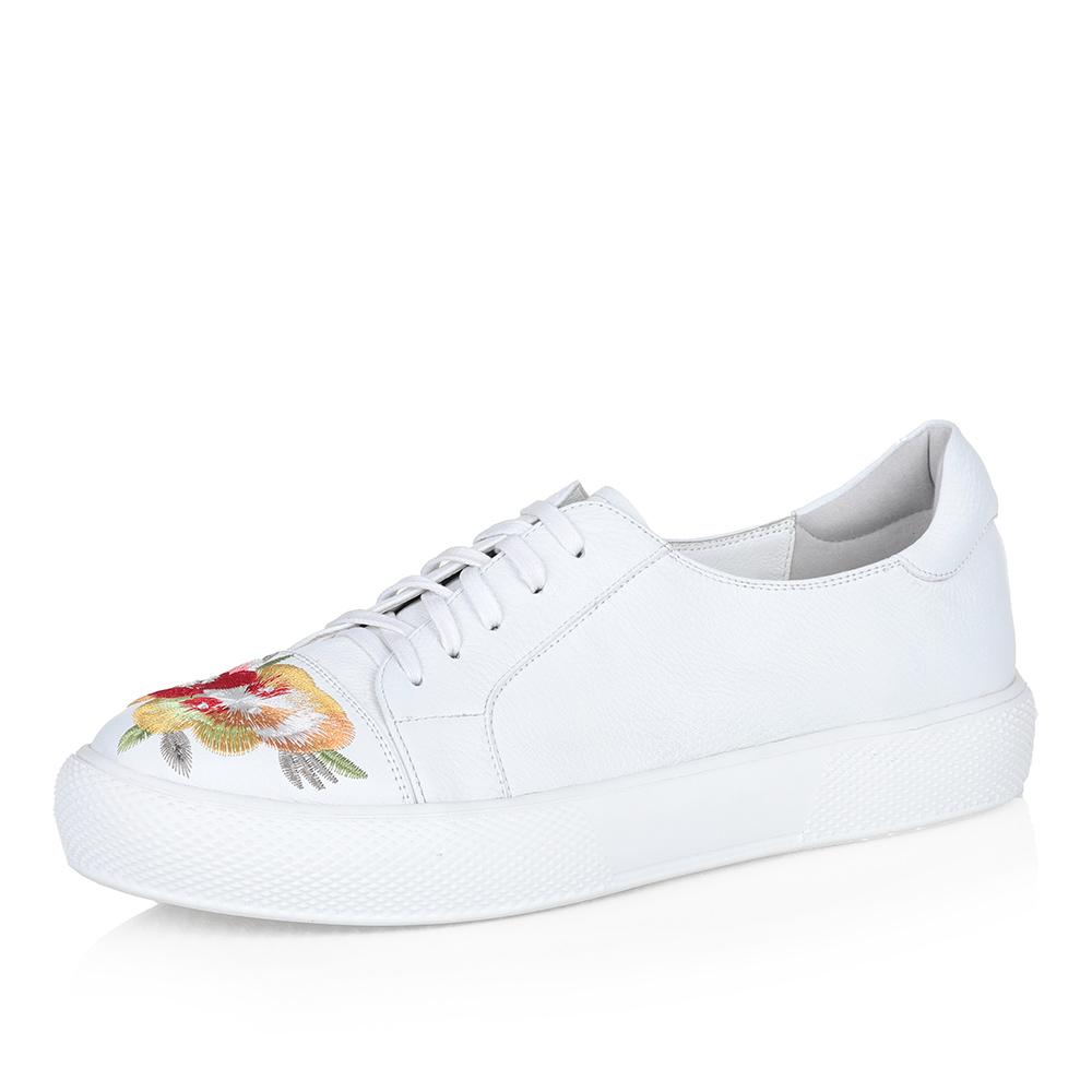 Белые кожаные кеды с цветочным принтом фото
