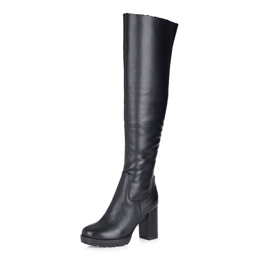 Купить со скидкой Черные кожаные ботфорты на высоком каблуке