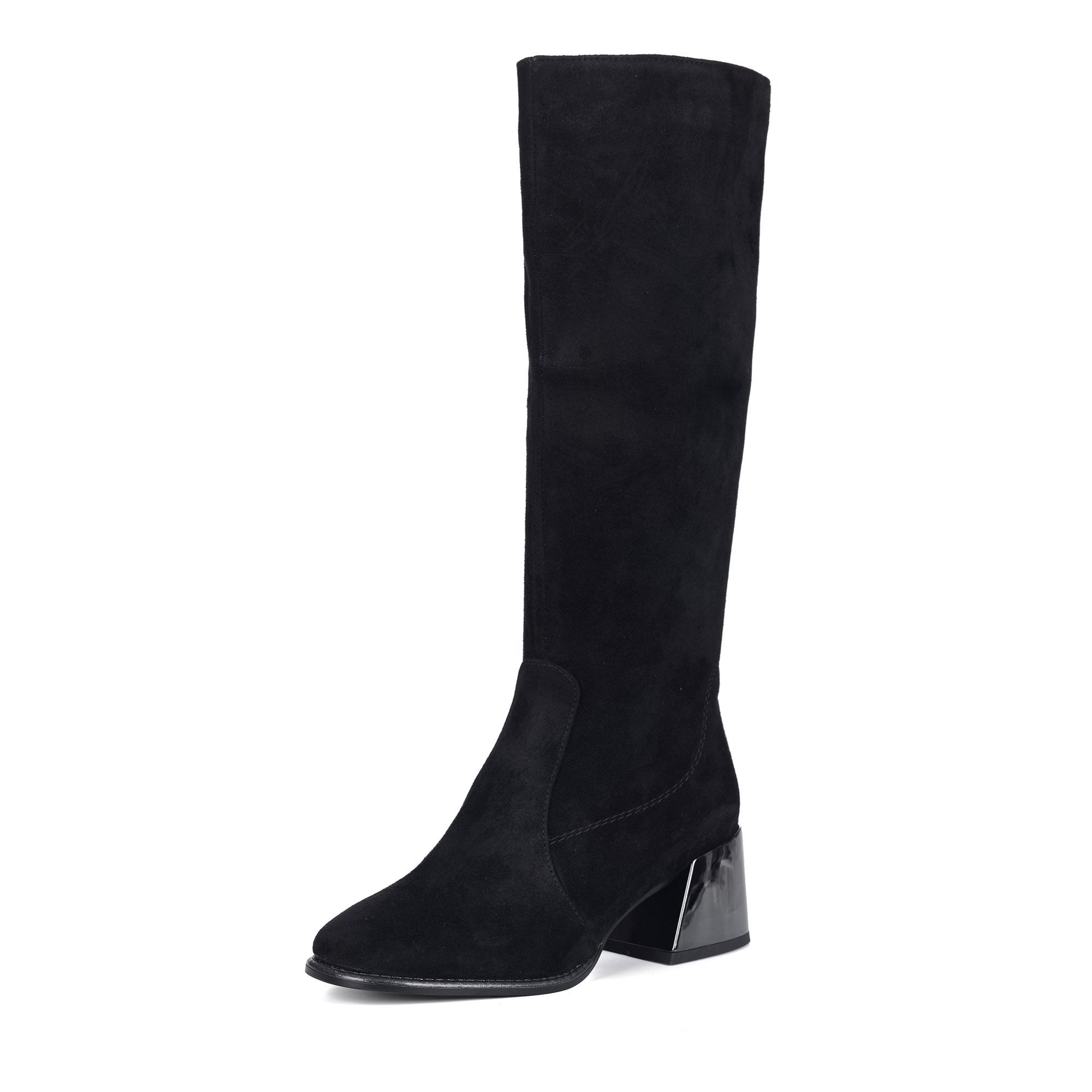Черные сапоги из велюра на каблуке