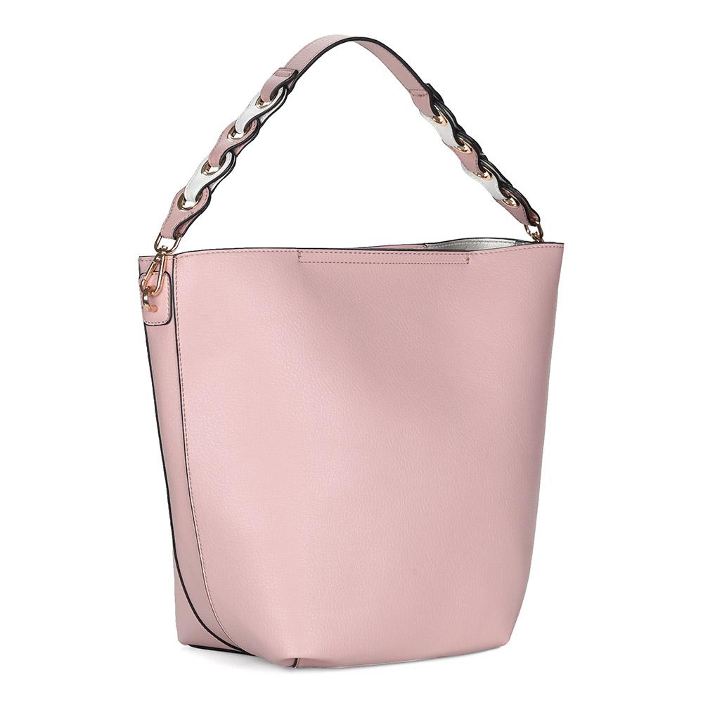 Розовая сумка из экокожи с двумя ручками разной длинны фото