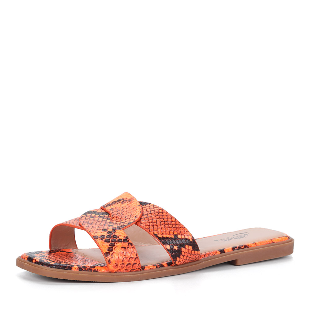 Сабо в оранжевом цвете с анималистичным принтом