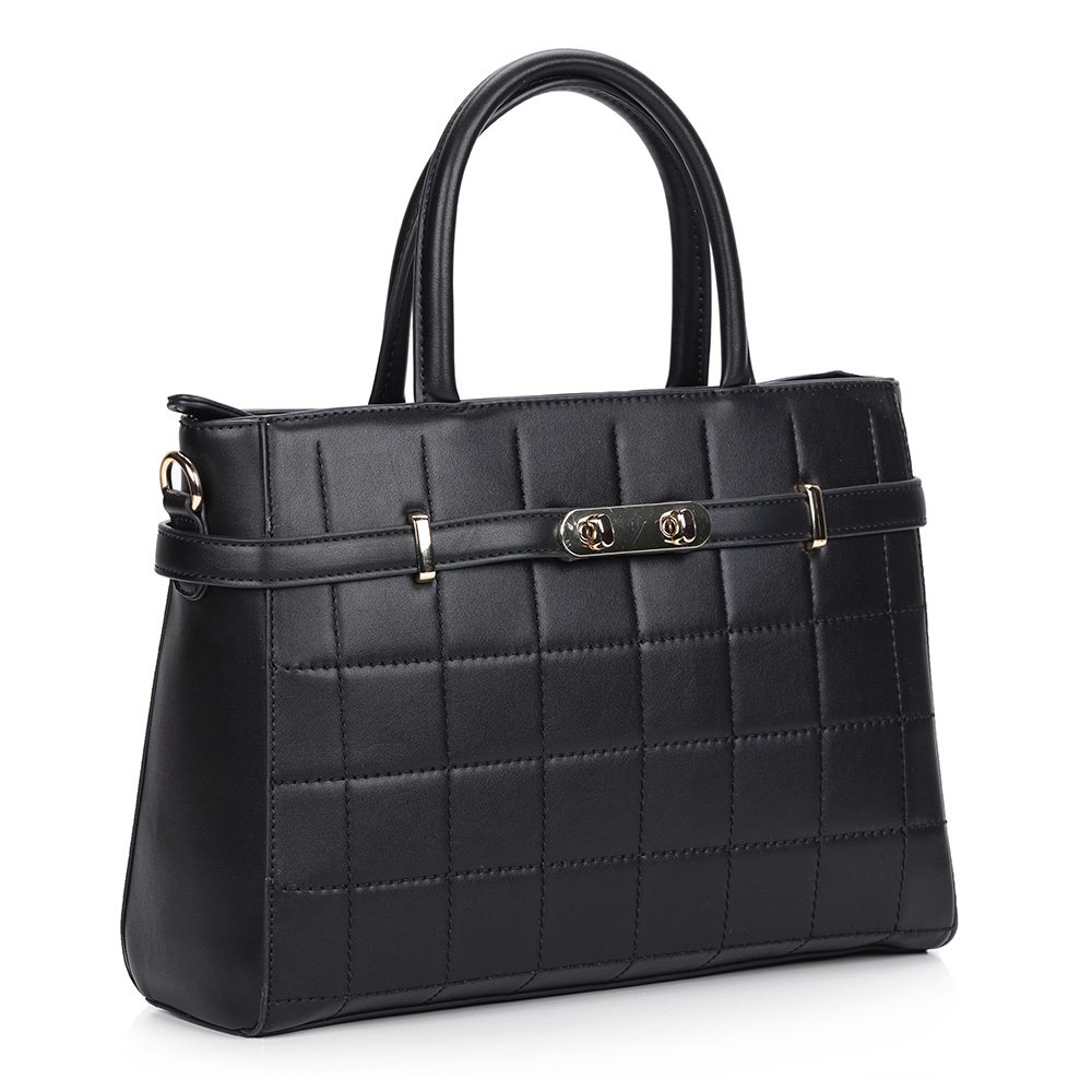 Черная сумка с жесткой основой и декоративной прошивкой фото