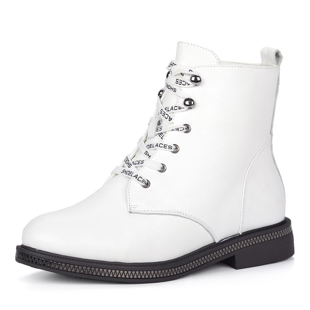 Белые кожаные ботинки с декоративными шнурками