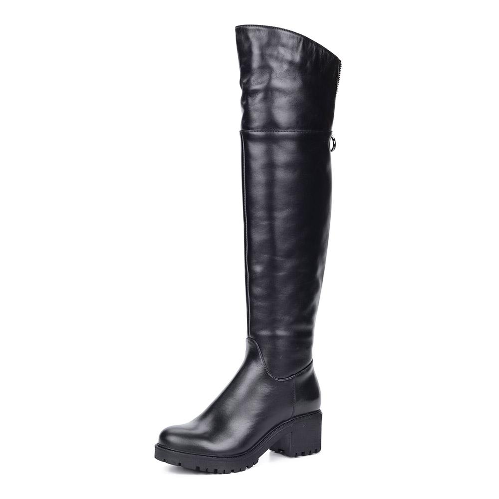 Черные кожаные ботфорты из кожи