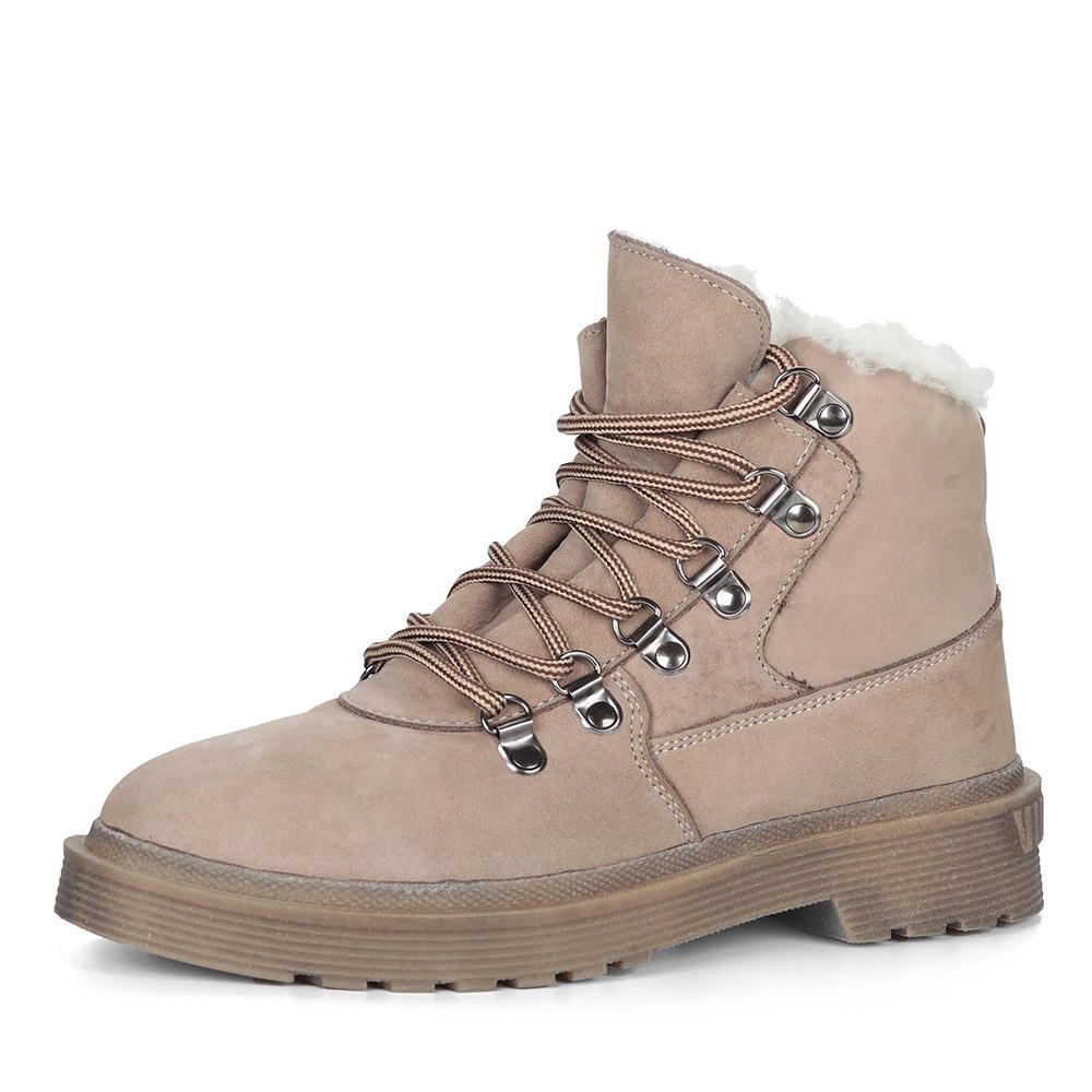 Бежевые ботинки из нубука на шнуровке