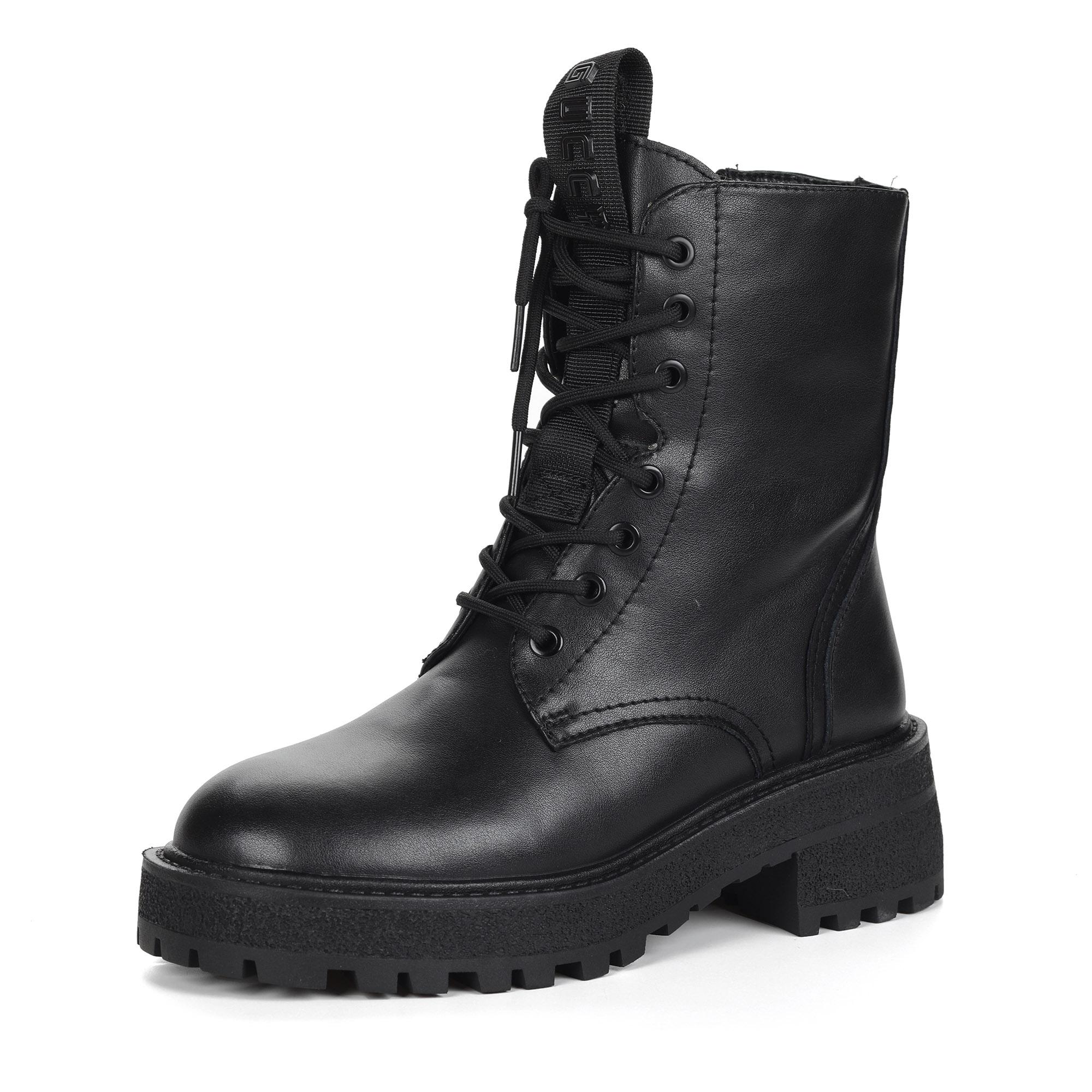Черные ботинки из кожи на утолщенной подошве на подкладке из натуральной шерсти на шнуровке