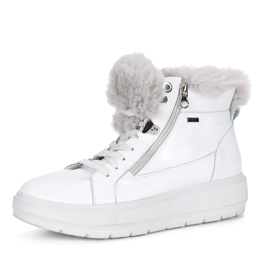 Белые кожаные ботинки с опушкой