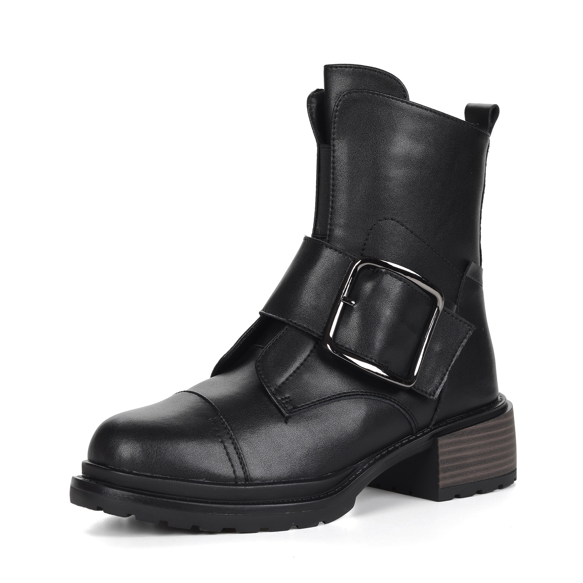 Черные ботинки из кожи на подкладке из натуральной шерсти на утолщенной подошве