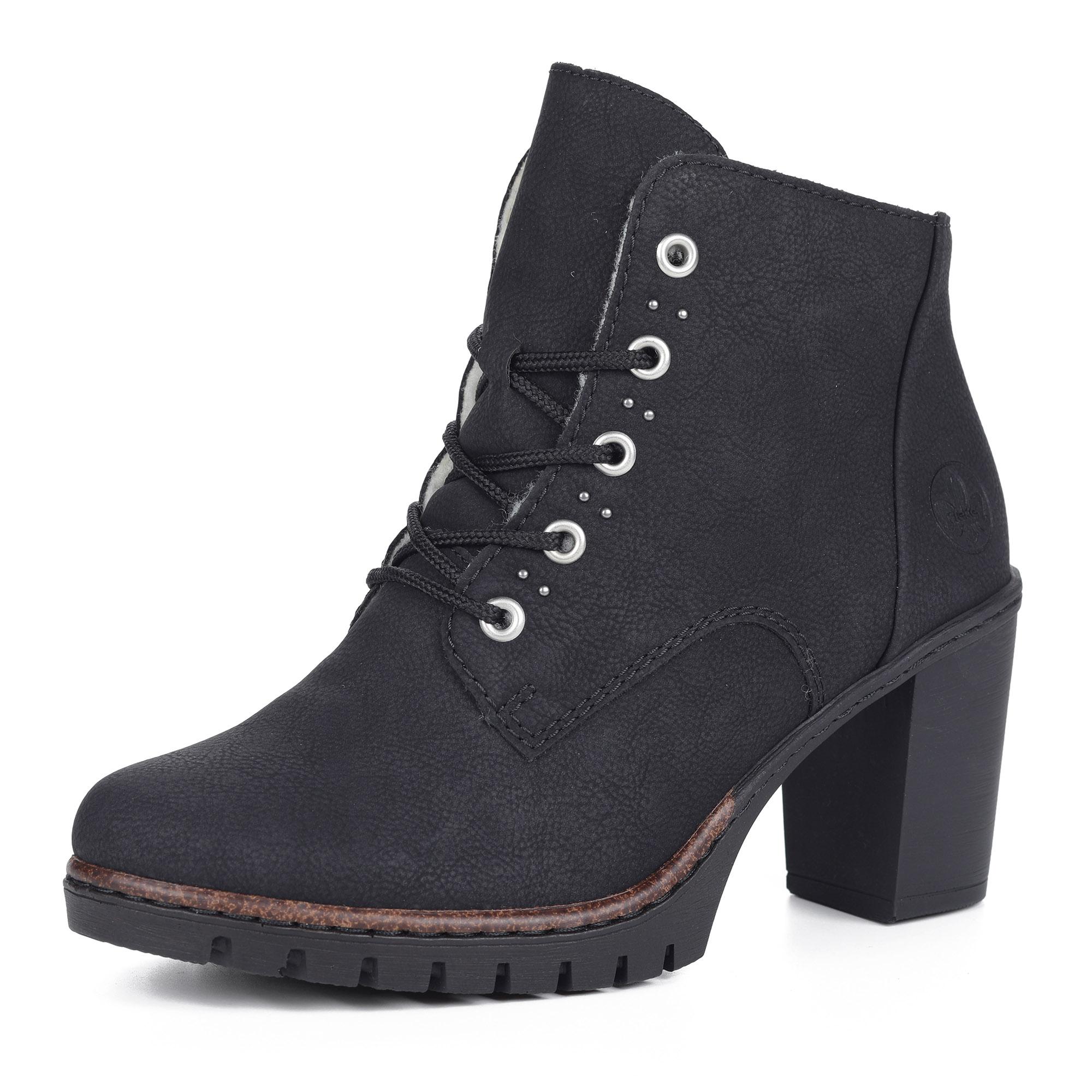 Черные ботильоны на шнуровке и устойчивом каблуке