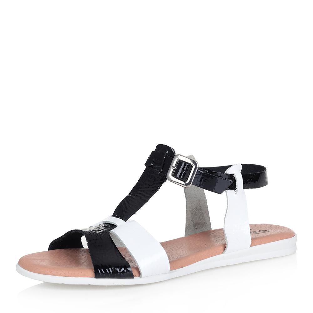 Купить со скидкой Черно-белые кожаные сандалии