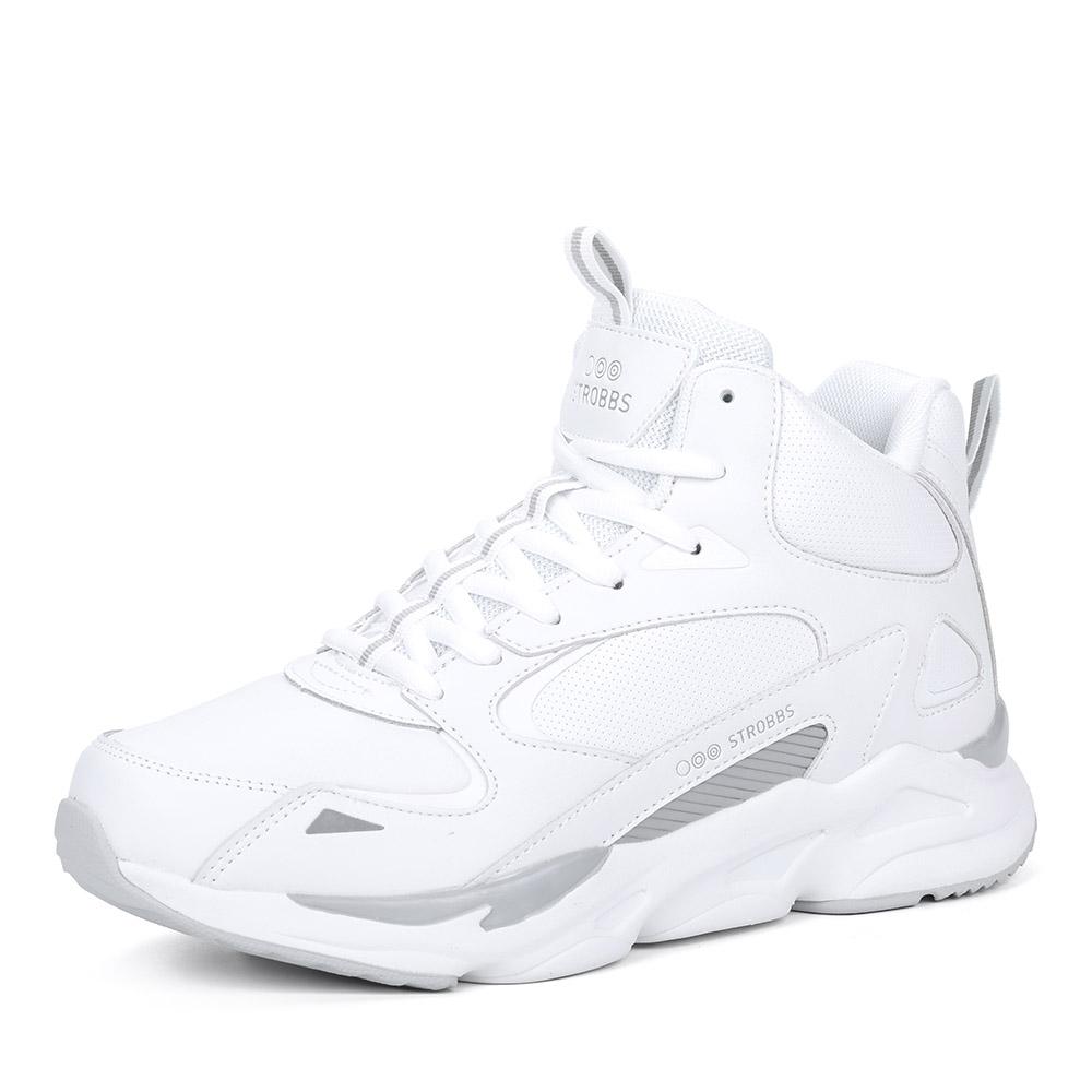 Белые комбинированные кроссовки на утолщенной подошве