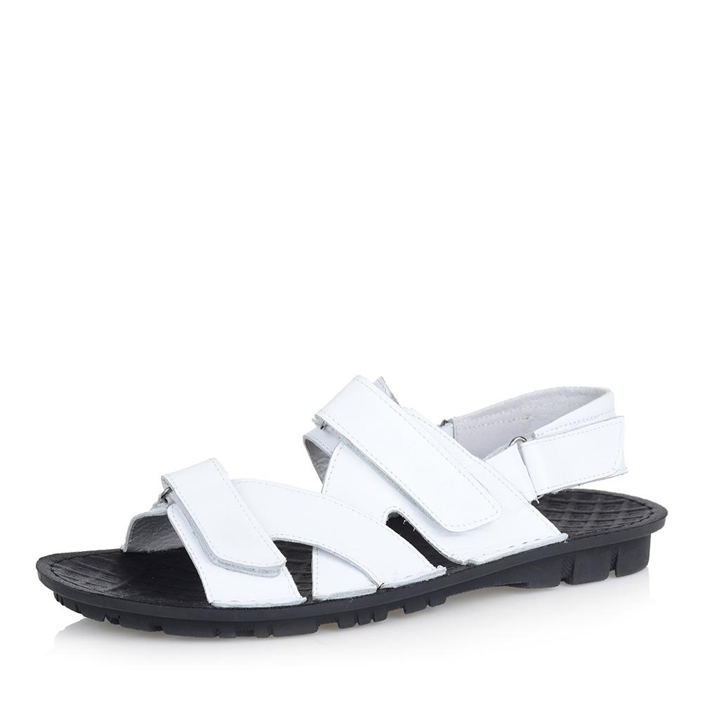 Белые кожаные сандалии фото