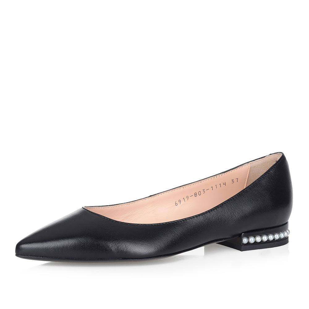 Купить со скидкой Черные балетки на декорированном каблуке