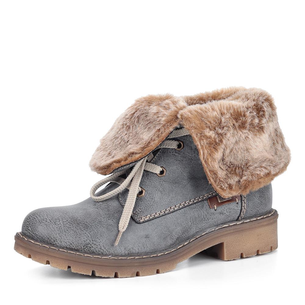 Серые ботинки с оригинальной шнуровкой