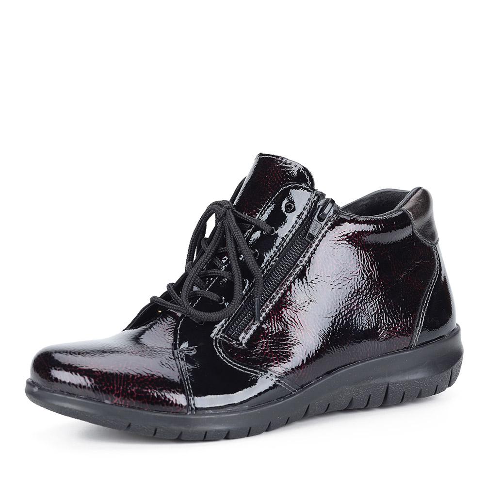 Бордовые ботинки из экокожи на шнуровке