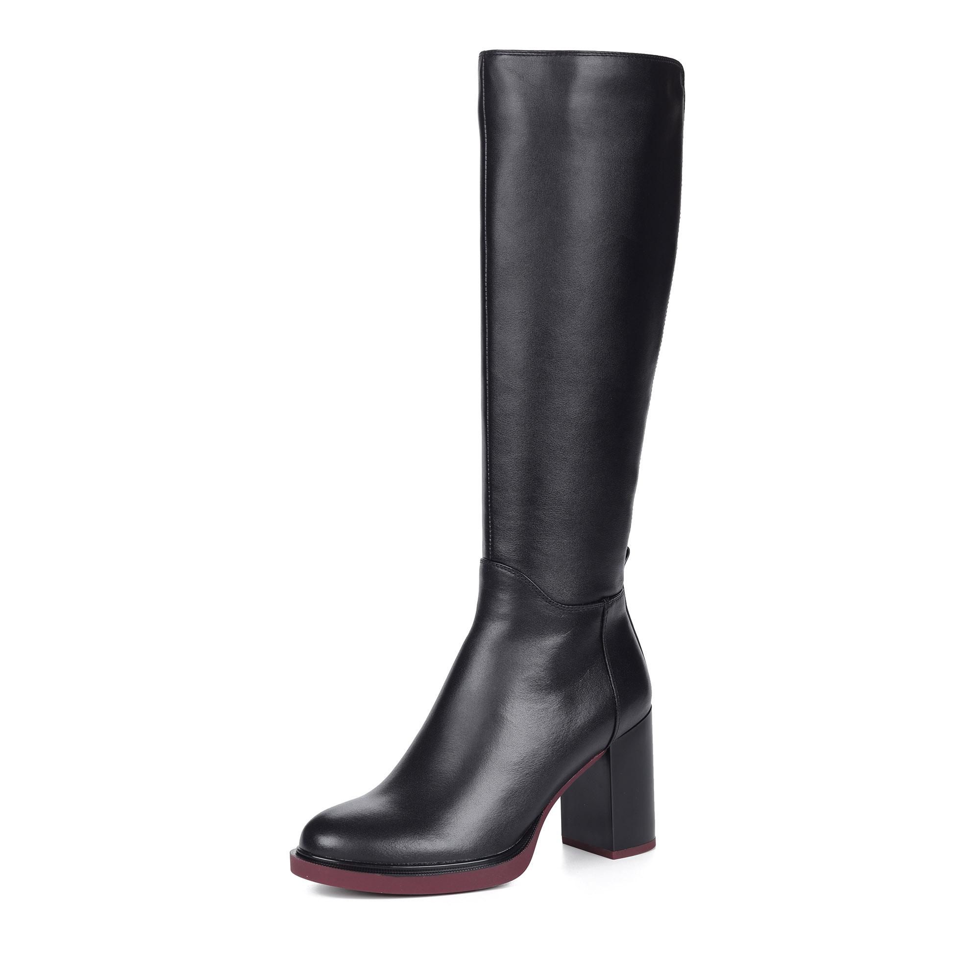 Черные сапоги из комбинированных материалов на каблуке