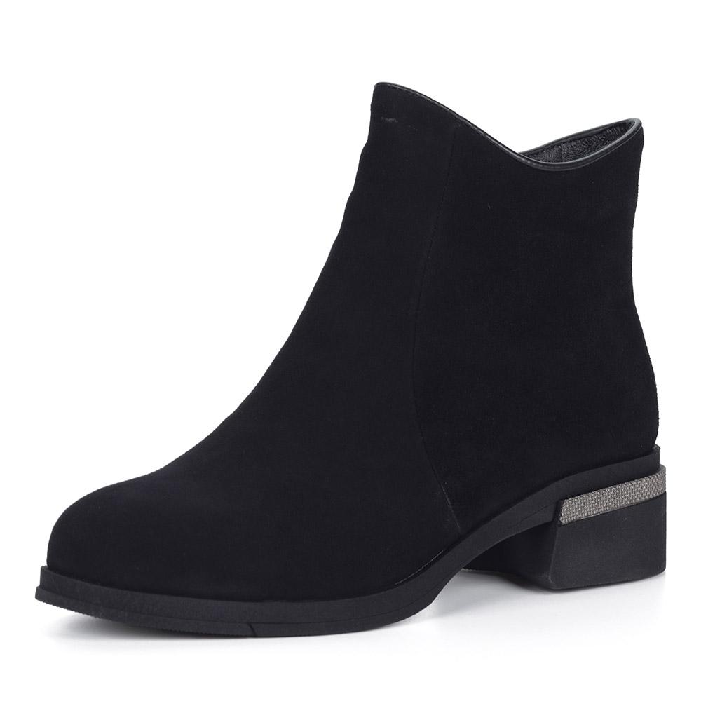 Черные велюровые ботинки на каблуке
