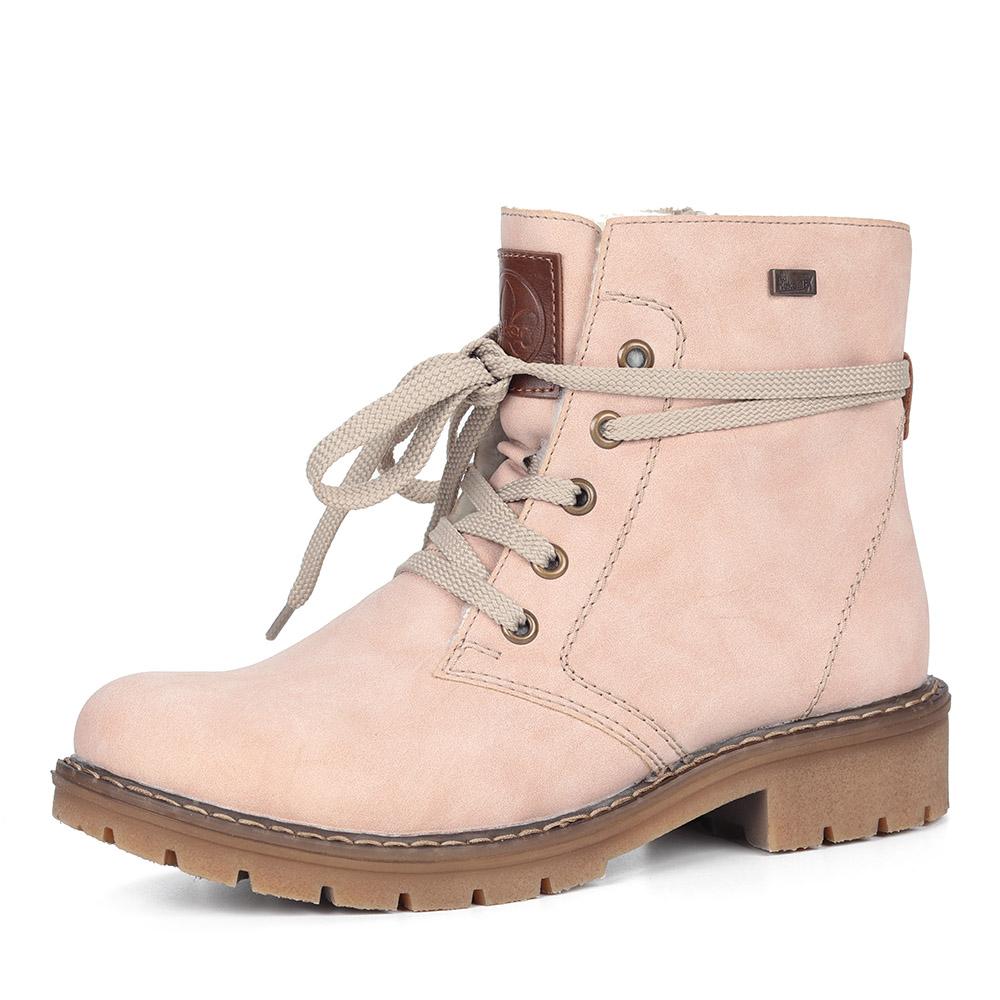 Розовые ботинки из экокожи
