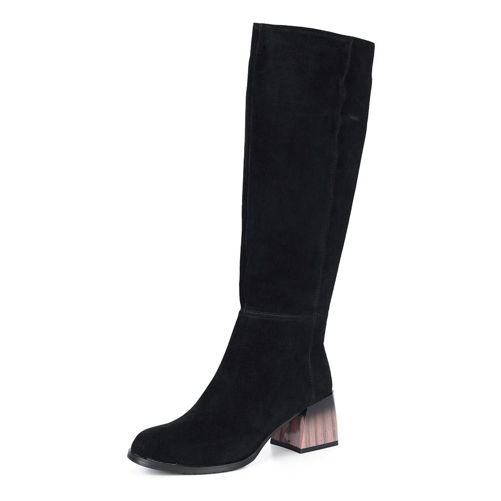 Черные велюровые сапоги с декоративным каблуком